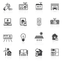 Smart home icons black