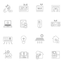 Smart home icons outline