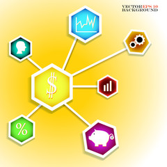 Infographic design on the yellow background. Vector illustration