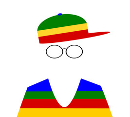 boy with colorful hat and wire rim glasses