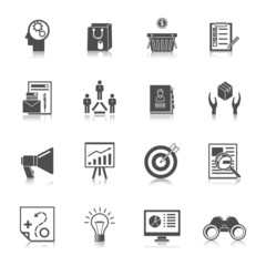Marketers Black Icons Set