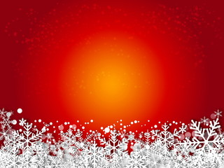 Red winter abstract background. Christmas background with snowfl