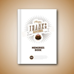 Thanksgiving Book cover, Cartoon of turkey bird for Happy Thanks