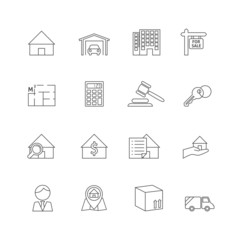 Real estate outline icons