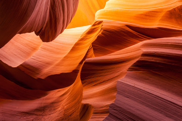 In de dag Bruin Sandstone texture in Antelope canyon, Page, Arizona