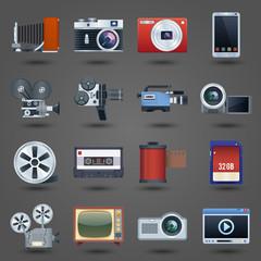 Photo video icons set