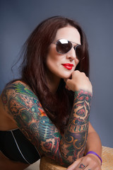 sexy glamorous girl with tattoos,,