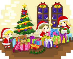 Cute little elves are celebrating Christmas, create by vector