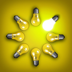 Idea concept with circle of light bulbs