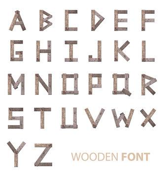 Wooden alphabet fonts on white background