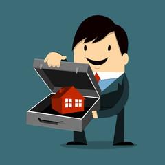 Businessman Holding Home