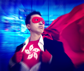 Superhero Businessman Hong Kong Stock Market Concept