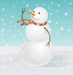 A cheerful snowman with nose-carrot and eyes-coal