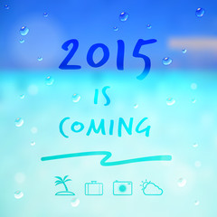 happy new year 2015 is coming word and travel icon on summer sea