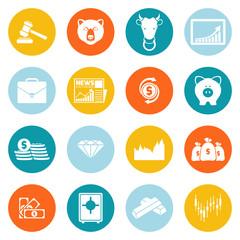 Finance exchange round icons