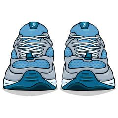 Vector Cartoon Single Blue Running Shoes