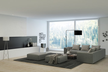 Architectural Living Room with Gray Couches