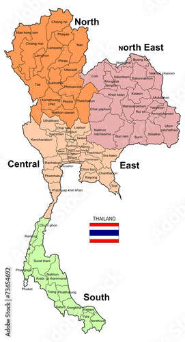Thailand Map 4 Regions Stock photo and royaltyfree images on