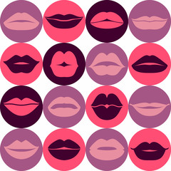 Flat design of lips. Seamless pattern of icon.