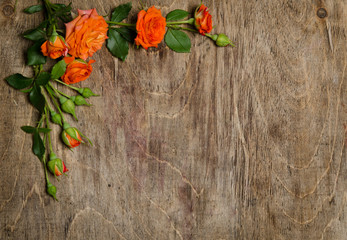 Corner from roses with leaves on wooden background.