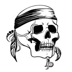 Skull with feathers. Vector illustration
