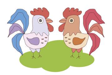 Two cocks  vector image