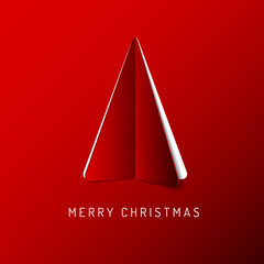 Vector Merry Christmas card with a red tree made from paper