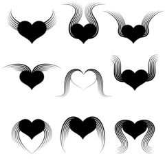 Set of hearts with wings