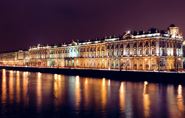 View of Winter Palace by night in St. Petersburg, Russia