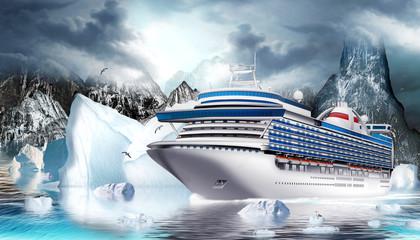 Kreuzfahrtschiff im Eismeer mit Eisberge und Felsen