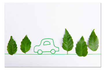 Green leaves with painted car isolated on white