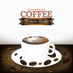 Cup of coffee background with coffee beans