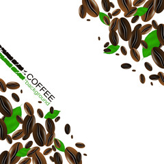Coffee background with coffee beans and green leaves