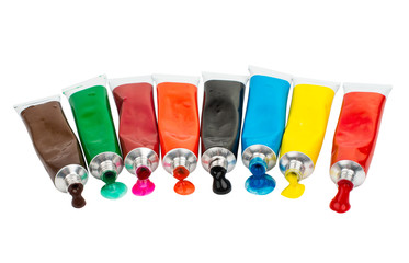 Fototapete - Tubes with acrylic paint
