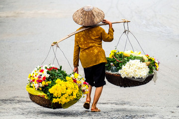Life of florist vendor at small market in HANOI,vietnam