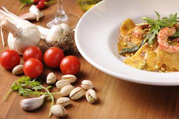 Ravioli and shrimp starter