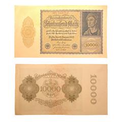 Inflationsgeld Reichsbanknote 1922 Vorderseite und Rückseite