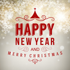 Merry Christmas message and snow background