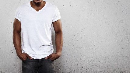 Young man wearing white t-shirt