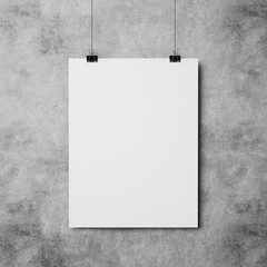 white poster on concrete wall background