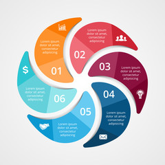 Business circle infographic, diagram, presentation. 6 options.