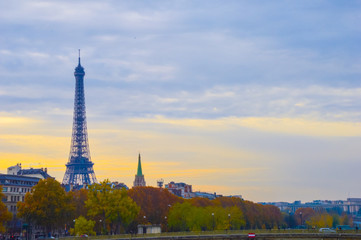 Sunset in Paris with the Eiffel tower
