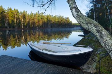 Morning lake silence in November