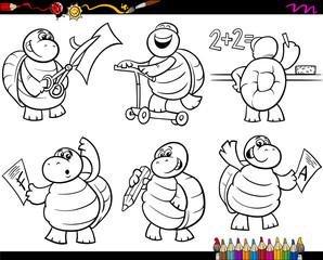 school turtle set cartoon coloring page