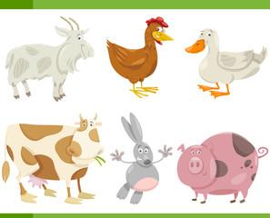 farm animals cartoon set illustration