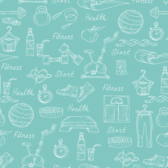 Vector pattern with healthy lifestyle symbols in blue