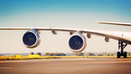 View on wing with two jet engines of Airbus A380