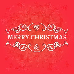 Fancy ornate borders with text merry christmas at red background