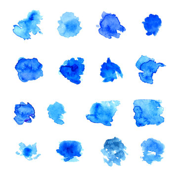 Set of blue vector watercolor paint spots and stains