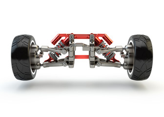 Front axle with suspension and sport gas absorbers isolated on w
